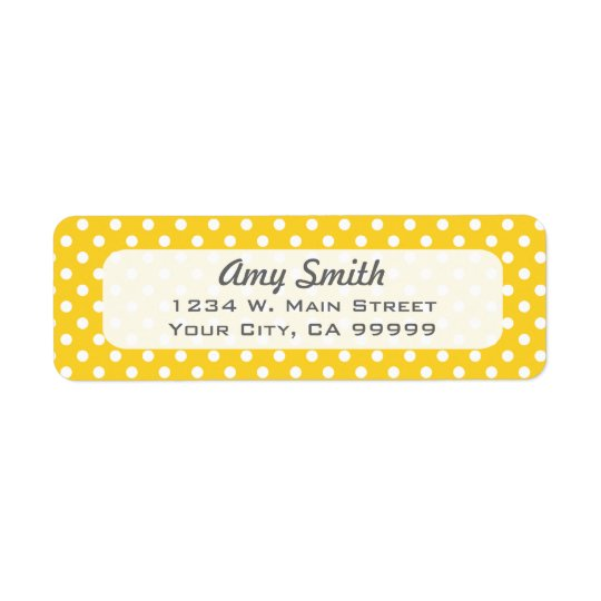 Yellow and White Polka Dots Return Address Label