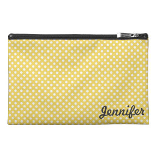 Yellow and White Polka Dots Travel Bagettes Bag Travel Accessories Bags