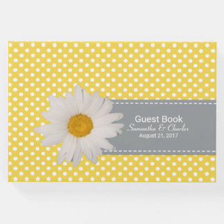 Yellow and White Polka Dots Wedding Guest Book