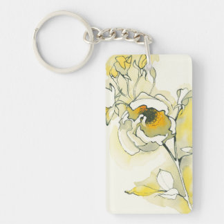 Yellow and White Roses Keychain