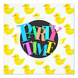 """Yellow and White Rubber Duck, Ducky 5.25"""" Square Invitation Card"""