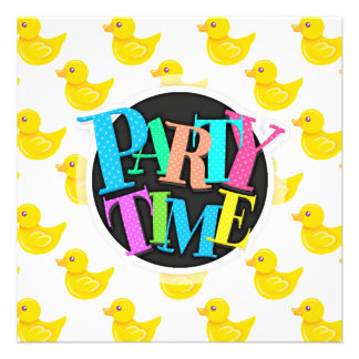 Yellow and White Rubber Duck Ducky Invitations