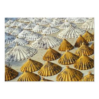 "Yellow and White Saa-Paper Umbrellas (Thailand) 5"" X 7"" Invitation Card"