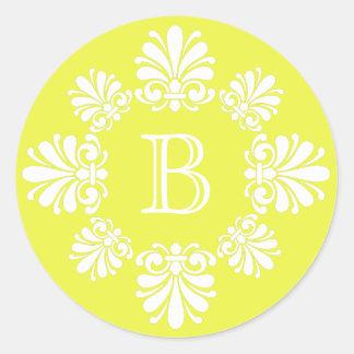 Yellow and White Scroll Wreath Monogram Classic Round Sticker