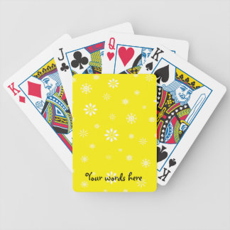 Yellow and white snowflakes pattern bicycle playing cards