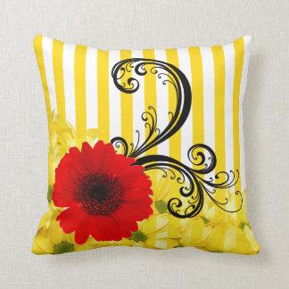 Yellow and White Stripe Floral Throw Pillow