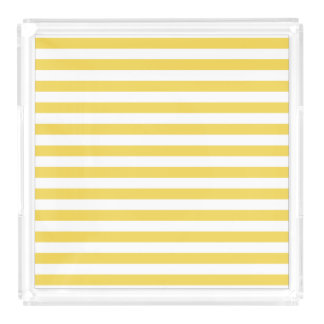 Yellow and White Stripe Pattern Acrylic Tray