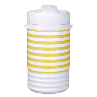 Yellow and White Stripe Pattern Cooler