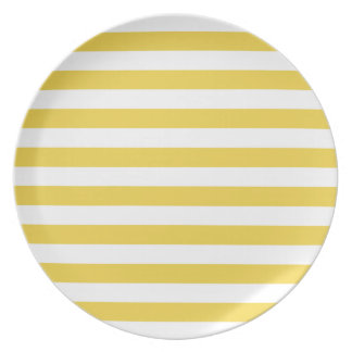 Yellow and White Stripe Pattern Dinner Plates
