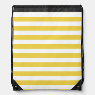 Yellow and White Stripe Pattern Drawstring Bag