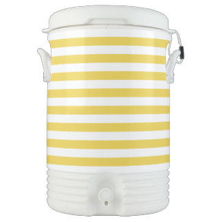 Yellow and White Stripe Pattern Drinks Cooler