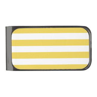 Yellow and White Stripe Pattern Gunmetal Finish Money Clip