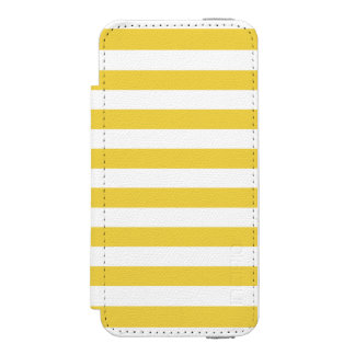 Yellow and White Stripe Pattern Incipio Watson™ iPhone 5 Wallet Case