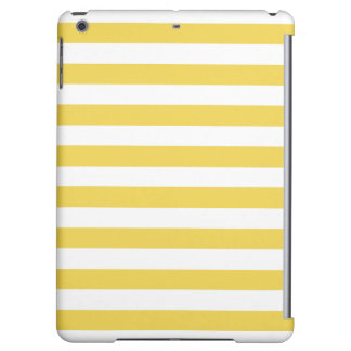 Yellow and White Stripe Pattern iPad Air Cases