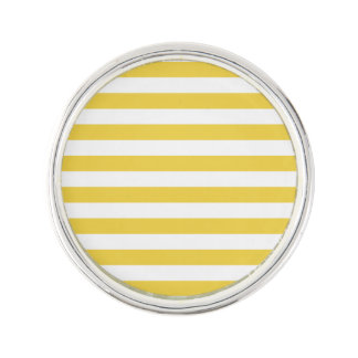 Yellow and White Stripe Pattern Lapel Pin