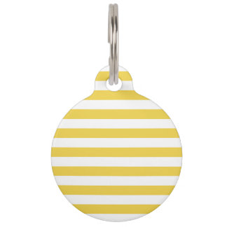Yellow and White Stripe Pattern Pet ID Tag