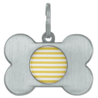 Yellow and White Stripe Pattern Pet Name Tag