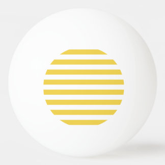Yellow and White Stripe Pattern Ping Pong Ball