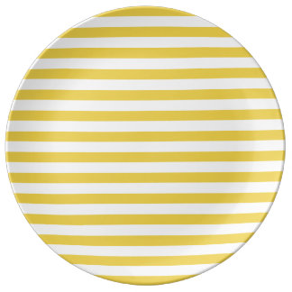 Yellow and White Stripe Pattern Porcelain Plate