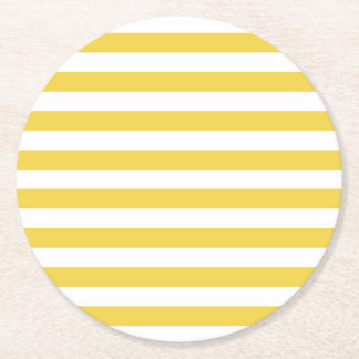 Yellow and White Stripe Pattern Round Paper Coaster