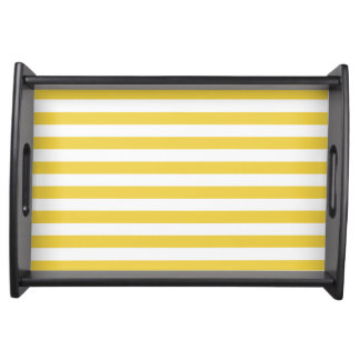 Yellow and White Stripe Pattern Serving Tray