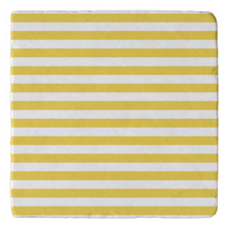 Yellow and White Stripe Pattern Trivet