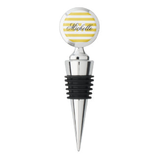 Yellow and White Stripe Pattern Wine Stopper