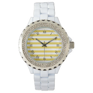 Yellow and White Stripe Pattern Wristwatch