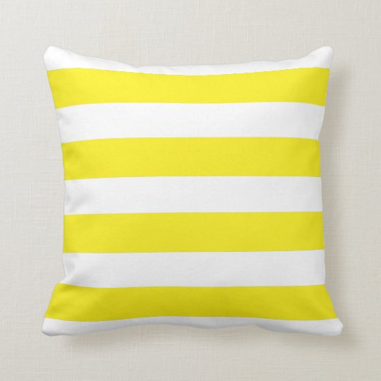 Yellow and White Stripe Polyester Cushion