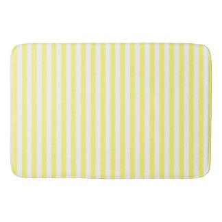 Yellow and White Striped Bath Mat