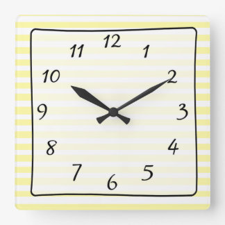 Yellow and White Striped Kitchen Clock
