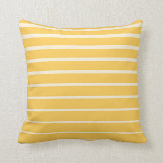 Yellow and white striped minimal throw pillow