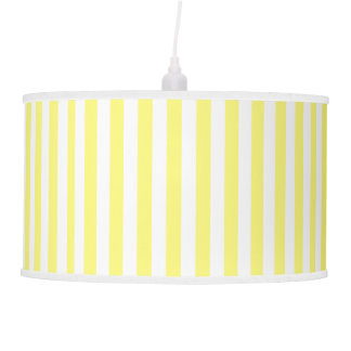 Yellow and White Striped Pendant Lamp