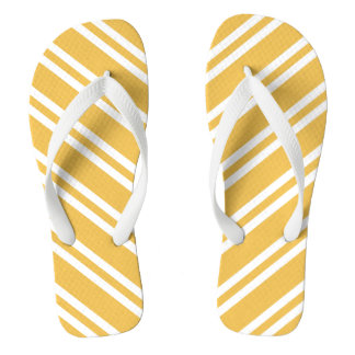 Yellow and White Stripes Flip Flops