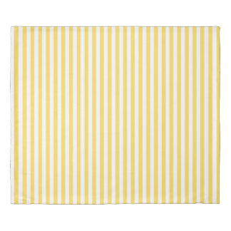 Yellow and White Stripes Pattern Duvet Cover
