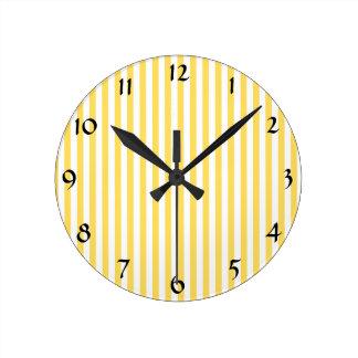 Yellow and White Stripes Pattern Round Clock