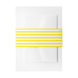 Yellow And White Stripes Wedding Belly Band Invitation Belly Band