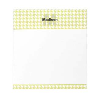 Yellow and White Textured Houndstooth Pattern Notepad