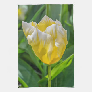 Yellow and white tulip kitchen towel