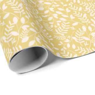 Yellow and White Vines - Floral Gift Wrap