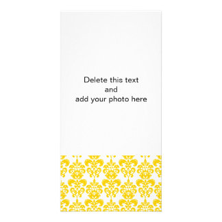 Yellow and White Vintage Damask Pattern 2 Custom Photo Card