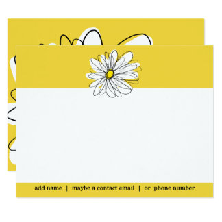 Yellow and White Whimsical Daisy Social Thank you Card