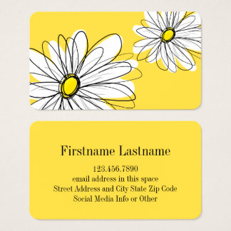 Yellow and White Whimsical Daisy with Custom Text Business Card