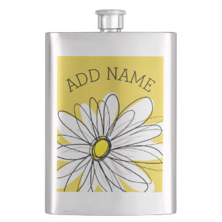 Yellow and White Whimsical Daisy with Custom Text Hip Flask