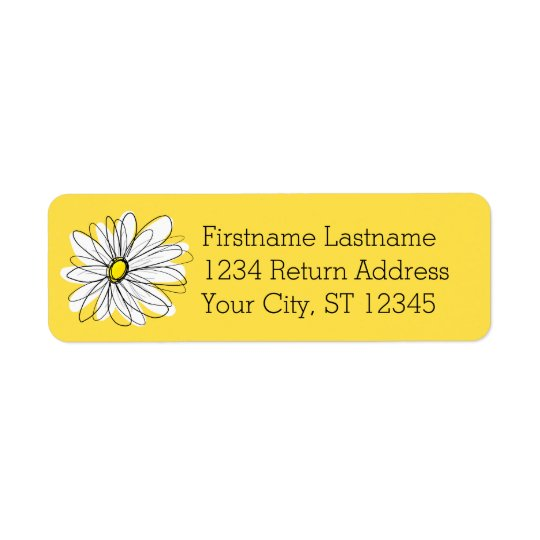 Yellow and White Whimsical Daisy with Custom Text Return Address Label