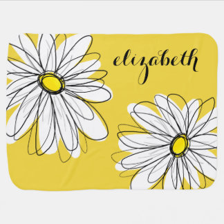 Yellow and White Whimsical Daisy with Custom Text Stroller Blanket