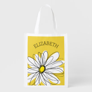 Yellow and White Whimsical Daisy with Custom Text Market Totes