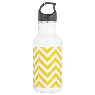 Yellow and White Zigzag Stripes Chevron Pattern 532 Ml Water Bottle