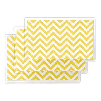 Yellow and White Zigzag Stripes Chevron Pattern Acrylic Tray