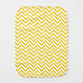Yellow and White Zigzag Stripes Chevron Pattern Baby Burp Cloth